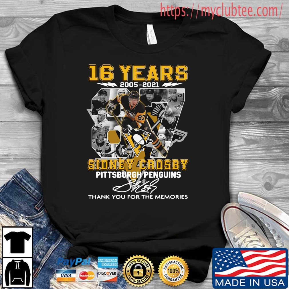 16 years 87 Sidney Crosby Pittsburgh Penguins thank you for the memories signature shirt