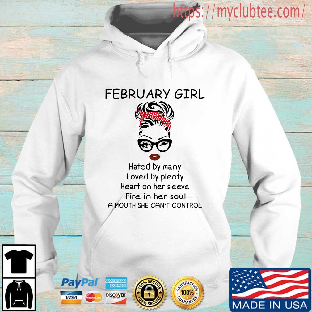 February girl hated by many loved by plenty heart on her sleeve Hoodie trang