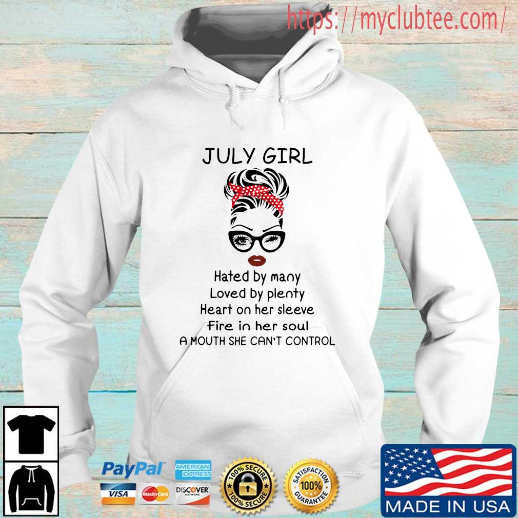 July girl hated by many loved by plenty heart on her sleeve Hoodie trang