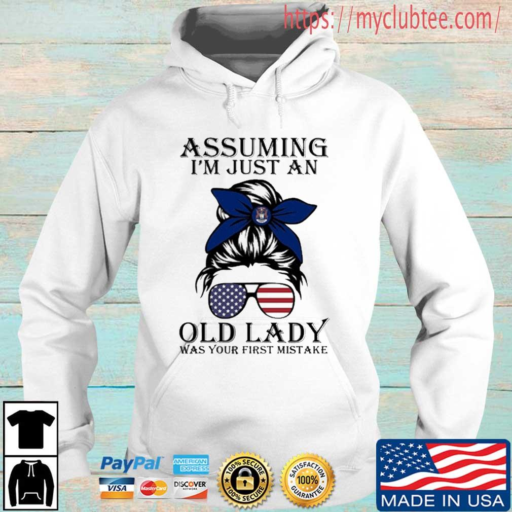 Assuming I'm Just An Old Lady Was Your First Mistake American Flag Shirt Hoodie trang