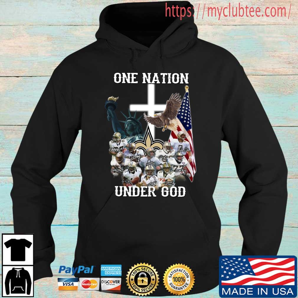 New Orleans Saints one nation under god signatures Hoodie den