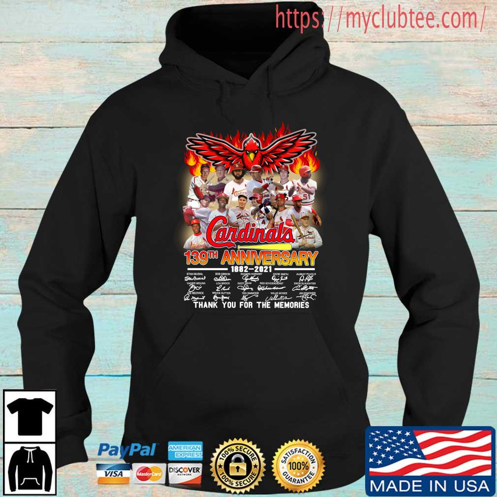 St. Louis Cardinals 139th anniversary 1882-2021 thank you for the memories signatures Hoodie den