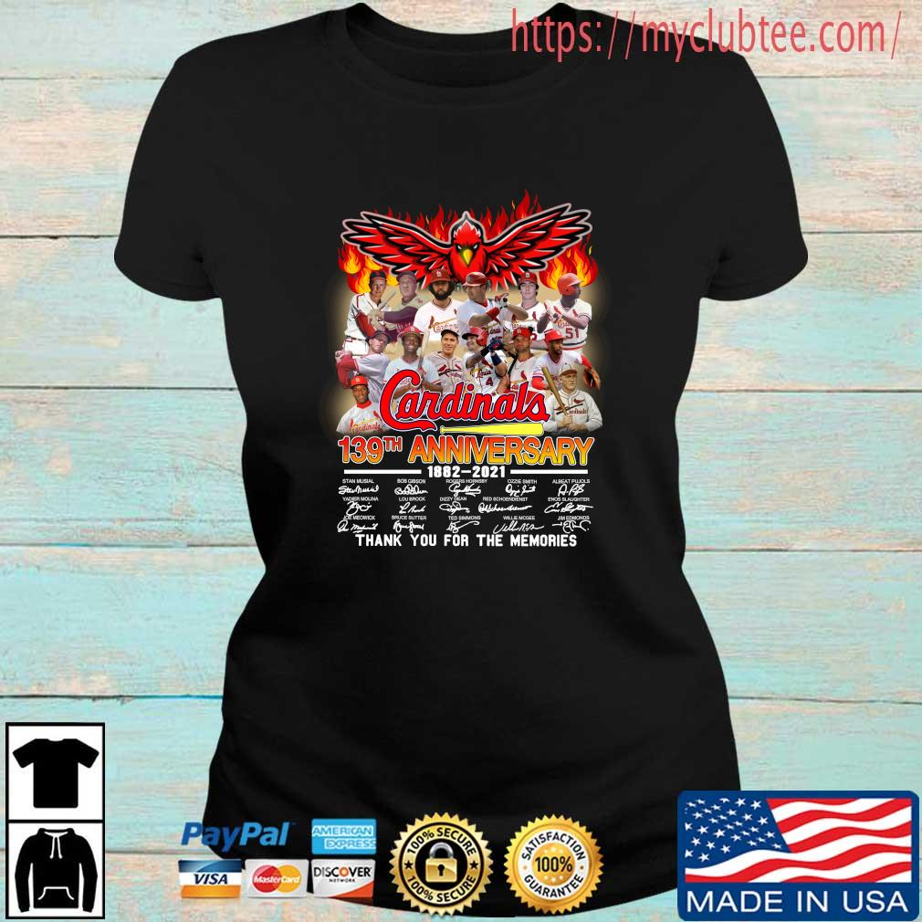 St. Louis Cardinals 139th anniversary 1882-2021 thank you for the memories signatures Ladies den