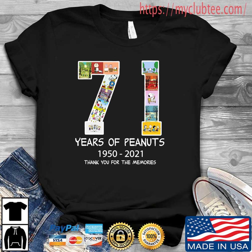 71 years of Peanuts 1950-2021 thank you for the memories shirt