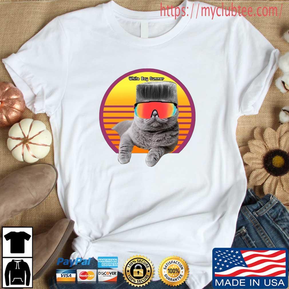 Cat white boy summer vintage shirt