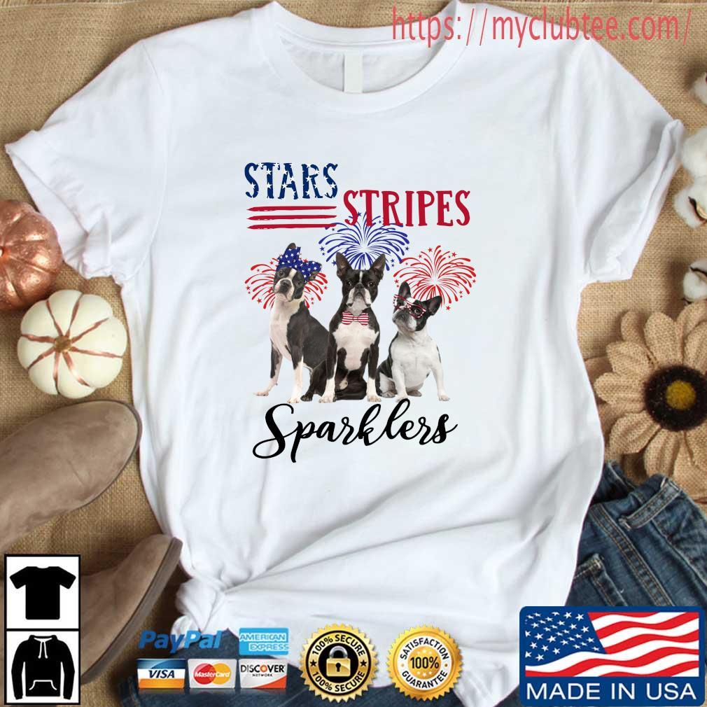 French bulldog stars stripes sparklers 4th Of July shirt