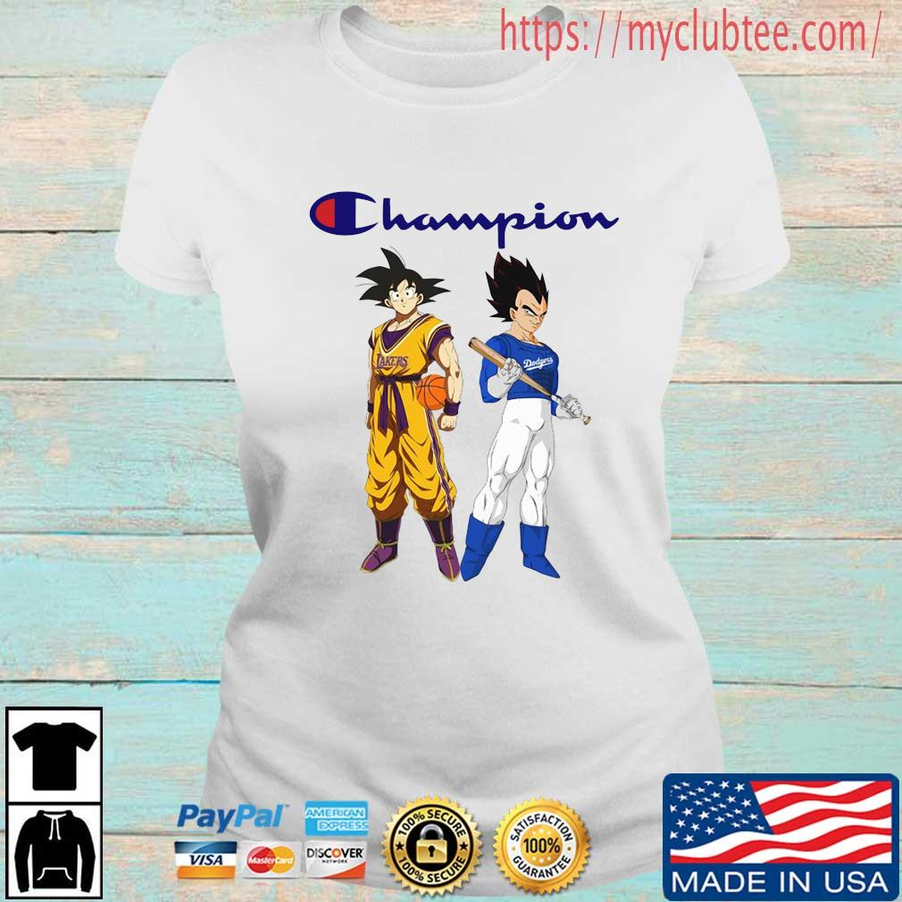 Son Goku and Vegeta Champions Los Angeles Dodgers and Los Angeles Lakers s Ladies tran