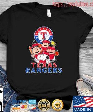 MLB Texas Rangers Snoopy Charlie Brown Woodstock The Peanuts Movie Baseball Shirt